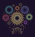 gold festive fireworks on black background vector image
