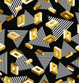 Gold seamless pattern retro 80s 3d background vector image vector image