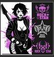 guitar lady on dark background - rock star slogan vector image vector image