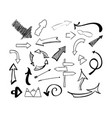 hand drawn sketch doodle arrows set vector image vector image