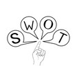 hand showing swot analysis strategy management for vector image vector image