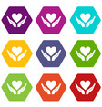 hands holding heart icon set color hexahedron vector image vector image