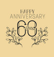 happy anniversary number sixty with wreath crown vector image vector image