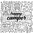 happy camper hand drawn card cartoon vector image vector image