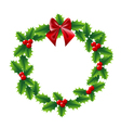 Holly Christmas wreath with bow red ribbon vector image