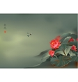 Japanese lotus flower and dragonfly vector image