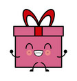 kawaii pink gift box wrapped bow ribbon decoration vector image vector image