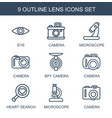 lens icons vector image vector image