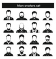man avatars set in black simple style vector image vector image