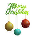 marry christmas text with three decoration balls vector image