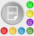 mp3 icon sign Symbol on eight flat buttons vector image vector image
