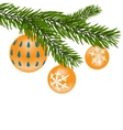 New Year or Christmas toys Firtree branch with vector image