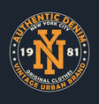 new york vintage denim graphic for t-shirt vector image vector image