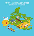 north america transportation and logistics vector image