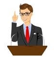 orator standing behind a podium with microphones vector image vector image