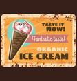 organic ice cream rusty metal plate vector image vector image