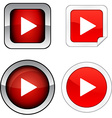 Play button set vector image vector image