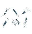 Poppers and fireworks set vector image vector image