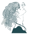 profile beautiful woman with butterfly vector image