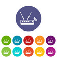 router icons set color vector image vector image