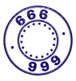 scratched textured 666 round stamp seal vector image