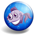 Sea monster swimming on blue badge vector image vector image