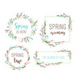 set of spring frames of branches and leaves vector image vector image