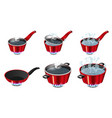 set red pans with boiling water opened and vector image vector image