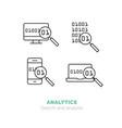 simple icons set analytics flat thin line vector image