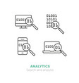 simple icons set of analytics flat thin line vector image vector image