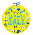 summer sale lettring shopping tag with round vector image vector image