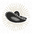 vintage label hand drawn sombrero mexican vector image