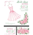 Watercolor pink bridal shower invitationDress vector image vector image
