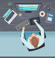 workspace top view freelance office table and vector image