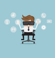 businessman with virtual reality glasses cartoon vector image