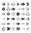 black arrows set pictures isolate vector image