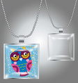 Silver pendant with square clear glass cabochon vector image