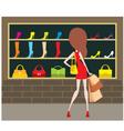 woman at a shop front vector image