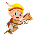 a boy american indian playing stick horse toy vector image vector image