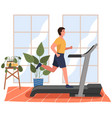 a sporty man is engaged in a hall on treadmill vector image vector image