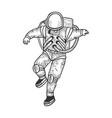 astronaut in spacesuit sketch vector image vector image