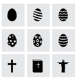 black easter icon set vector image vector image