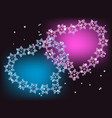 Blue and purple hearts with stars EPS10 vector image