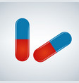 blue and red pills isolated vector image vector image