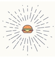 Burger vintage label in hipster style with vector image vector image