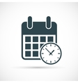 Calendar with clock icon vector image