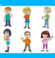 cartoon children and teens characters set vector image