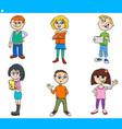 cartoon children and teens characters set vector image vector image