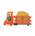 cartoon truckload of hay farmer truck vector image vector image