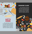 cooking school chef master classes poster vector image vector image